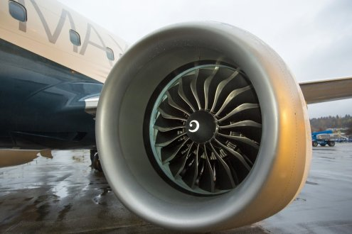 The rollout of Boeing's first 737 MAX 8 outside the 737 final assembly factory in Renton on Tuesday December 8th, 2015. The new fuel efficient engines are made by CFM International.