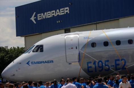 The the E195-E2 commercial jet's first prototype is pictured in Sao Jose dos Campos, Brazil, March 7, 2017. REUTERS/Roosevelt Cassio